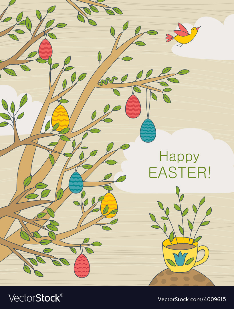 Easter greeting card with colorful eggs vector | Price: 1 Credit (USD $1)