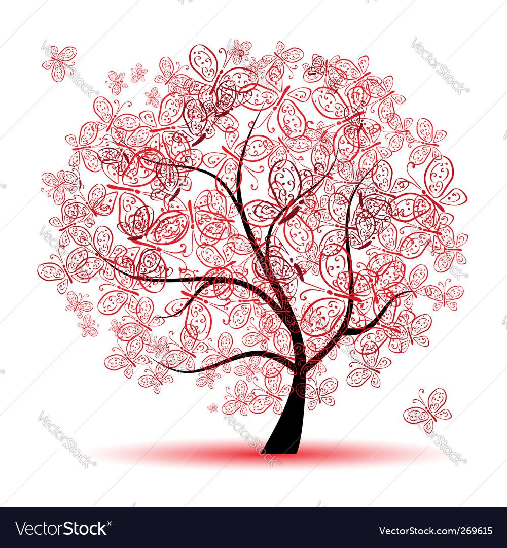 Floral tree vector | Price: 1 Credit (USD $1)