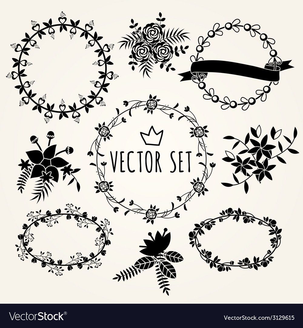 Hand drawn set vintage style design elements vector | Price: 1 Credit (USD $1)