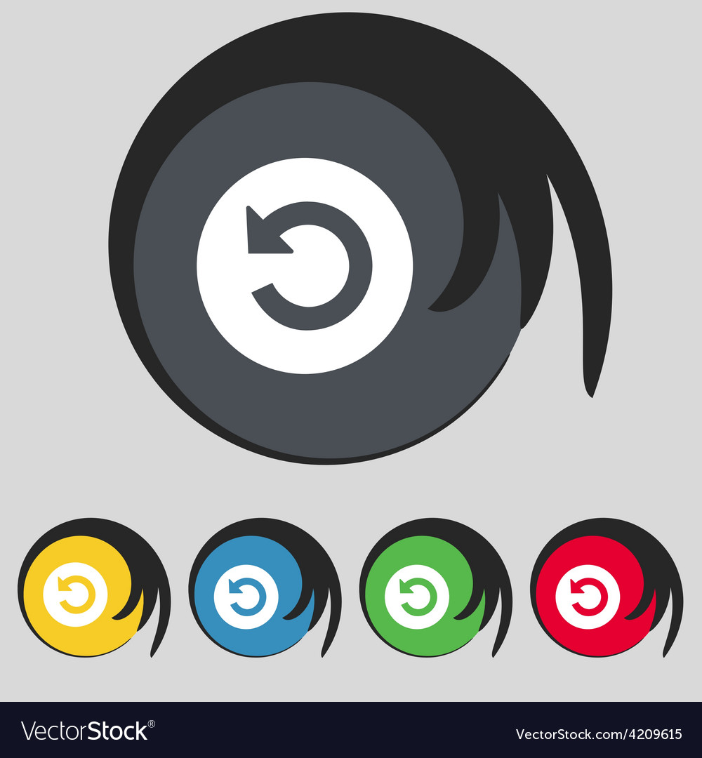 Icon sign symbol on five colored buttons vector | Price: 1 Credit (USD $1)