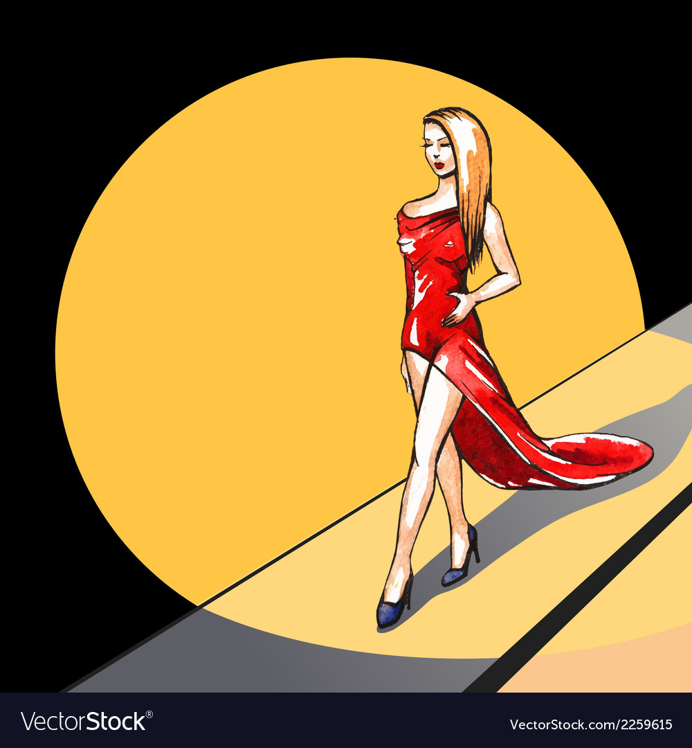 Model on the runway - vector | Price: 1 Credit (USD $1)