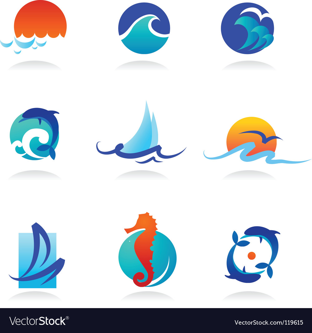 Nature logos 02 sea theme vector | Price: 1 Credit (USD $1)