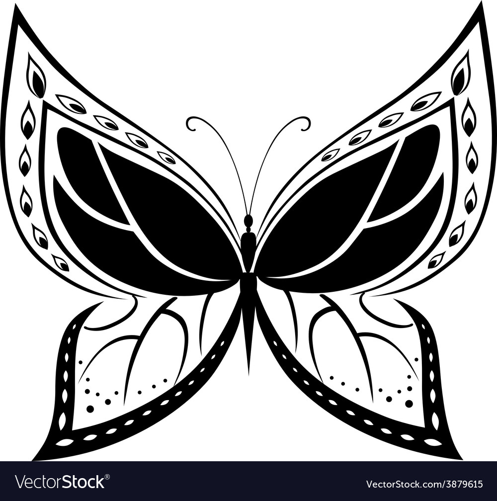Ornamented abstract silhouette butterfly vector | Price: 1 Credit (USD $1)