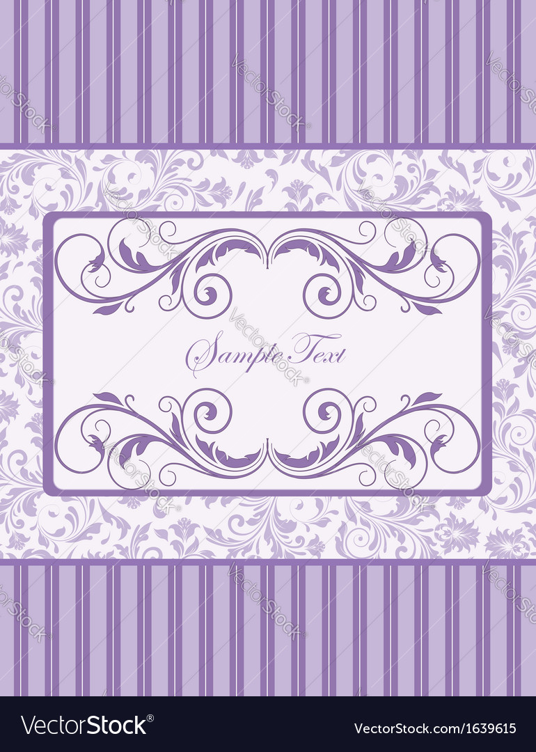 Purple damask invitation card vector | Price: 1 Credit (USD $1)