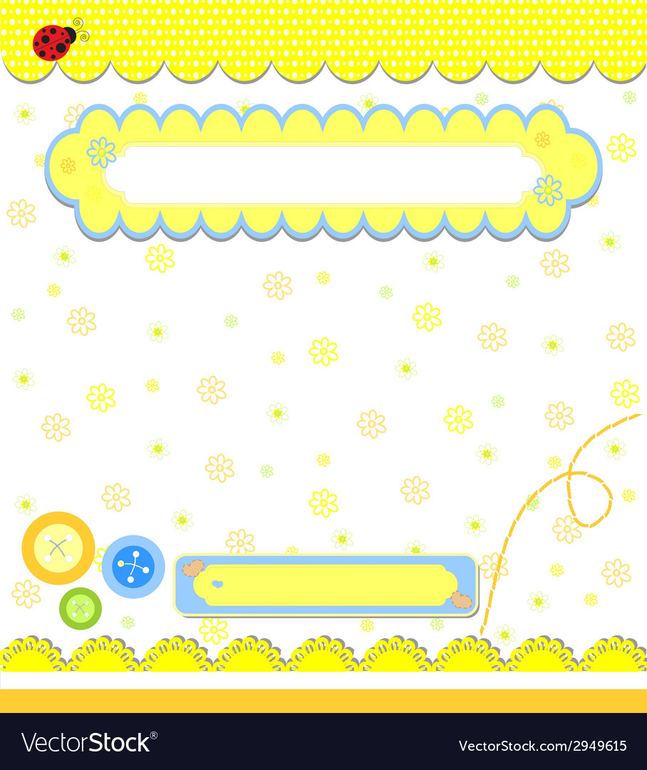 Romantic yellow scrapbooking for invitation vector | Price: 1 Credit (USD $1)