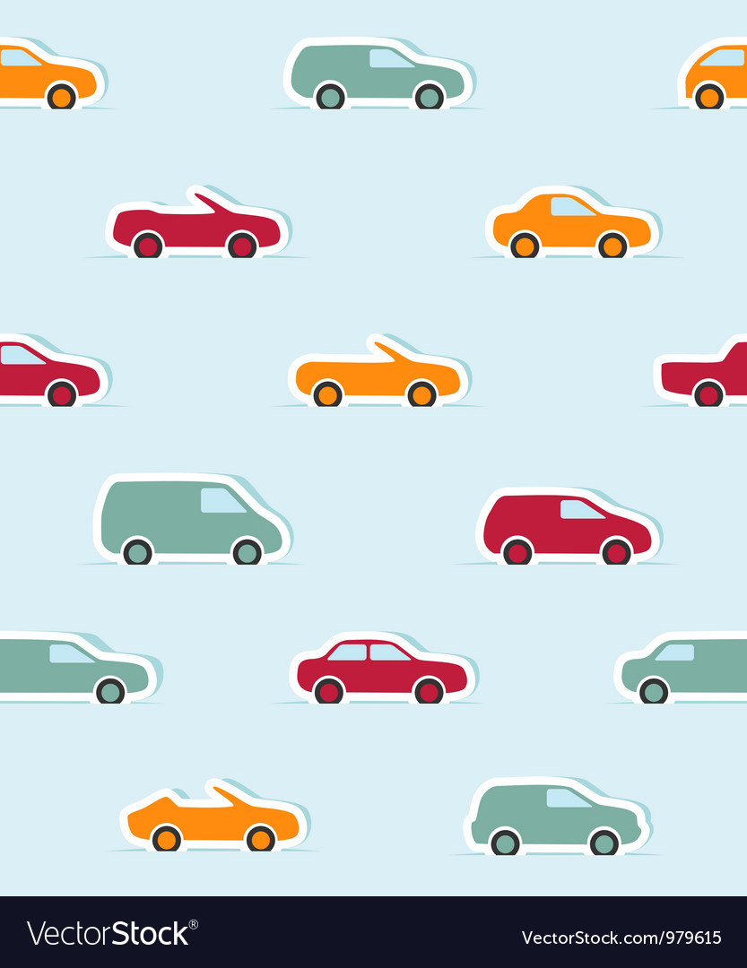 Seamless pattern with paper cars vector | Price: 1 Credit (USD $1)