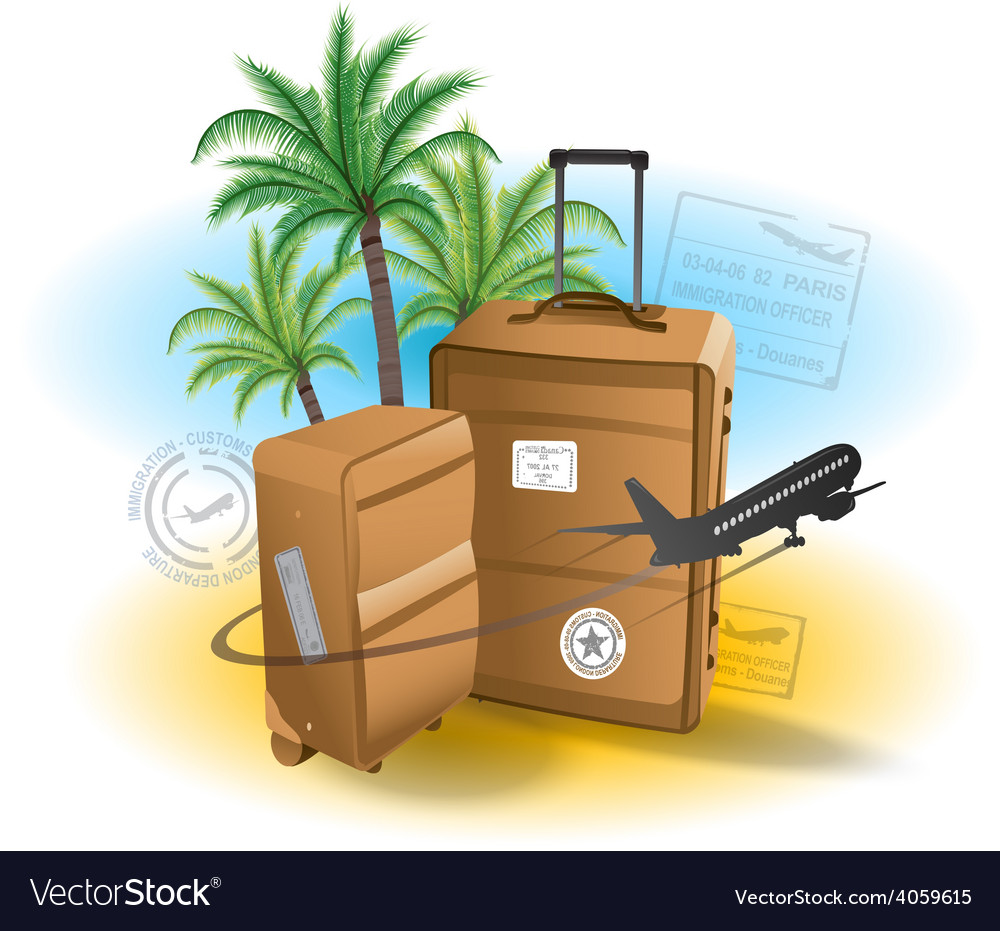 Travel suitcase background summer beach vector | Price: 3 Credit (USD $3)