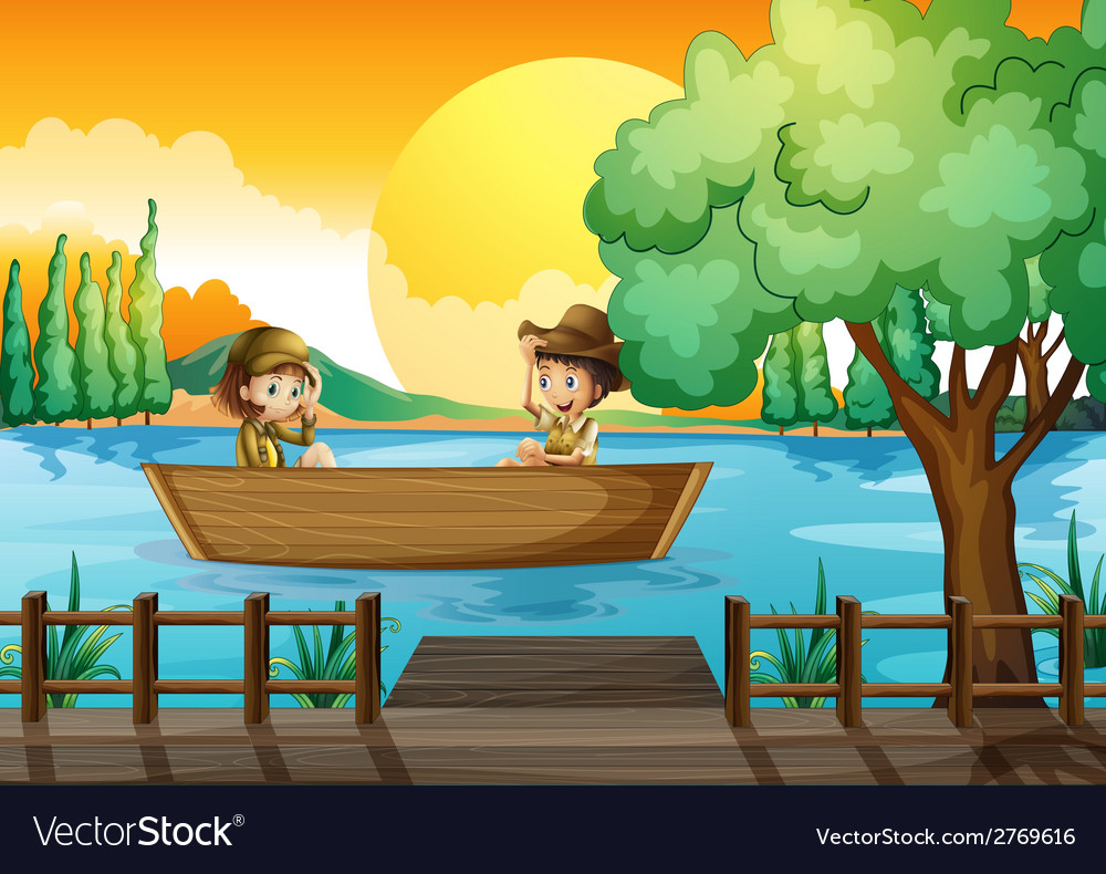 A boy and a girl at the boat vector | Price: 1 Credit (USD $1)