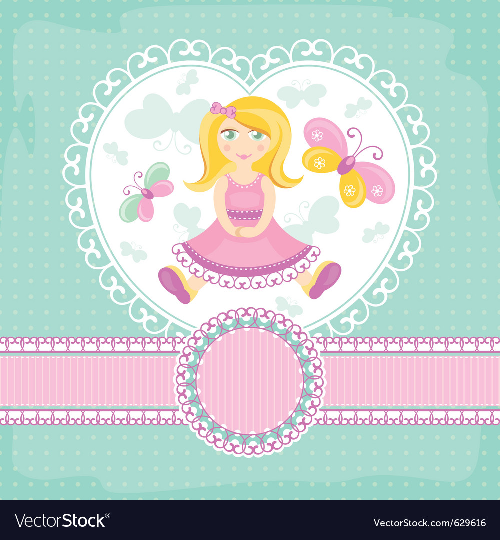 Abstract baby card with girl vector | Price: 1 Credit (USD $1)