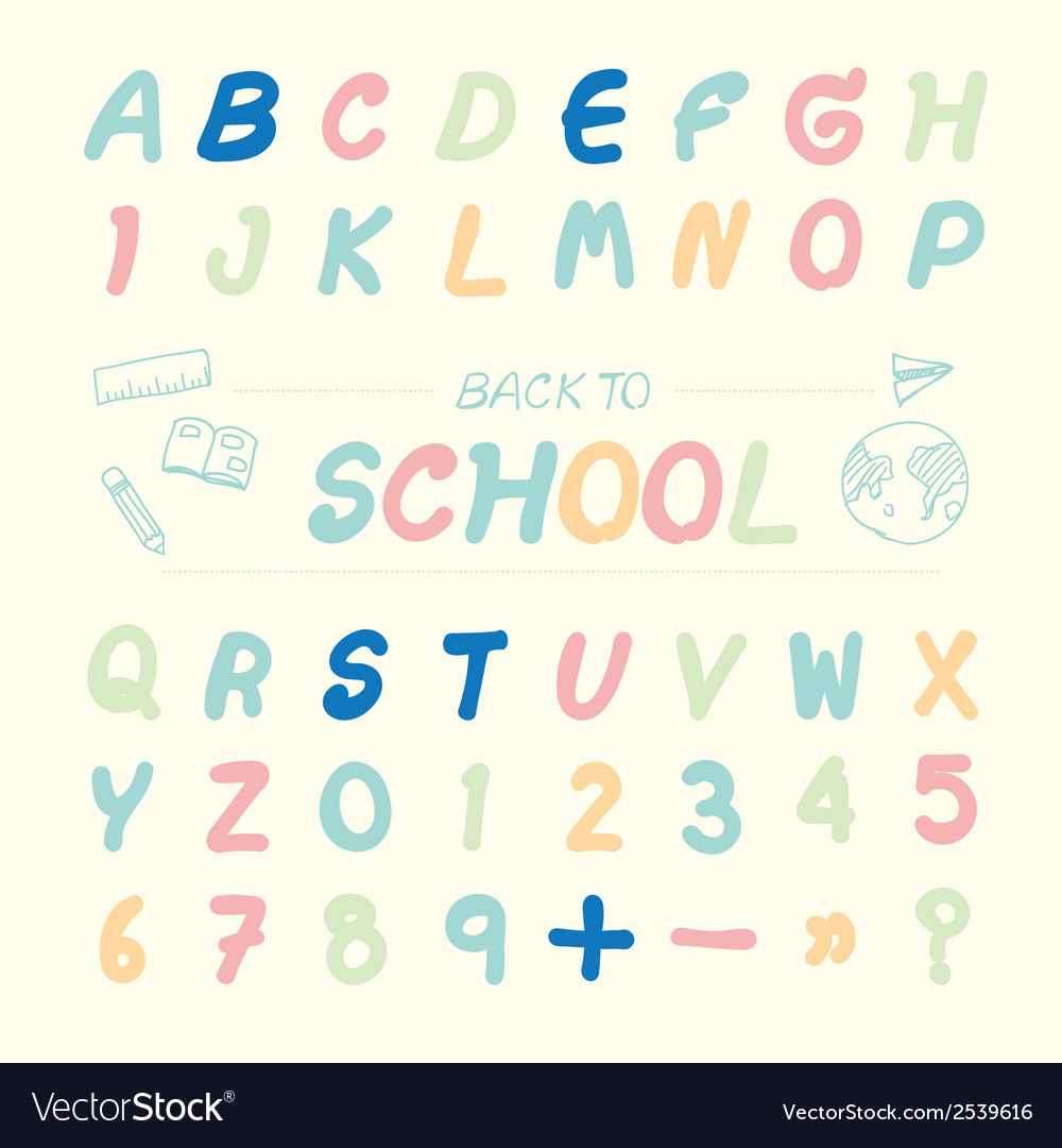 Alphabet sketched style back to school vector | Price: 1 Credit (USD $1)