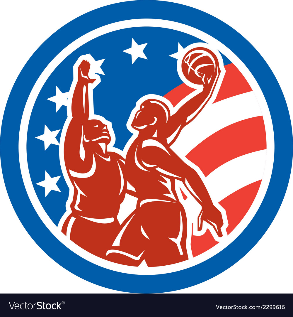 American basketball player dunk block circle retro vector | Price: 1 Credit (USD $1)