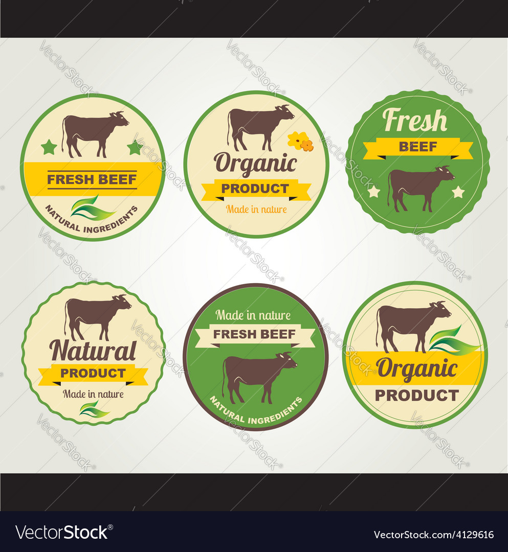 Badges beef organic product design template vector | Price: 1 Credit (USD $1)