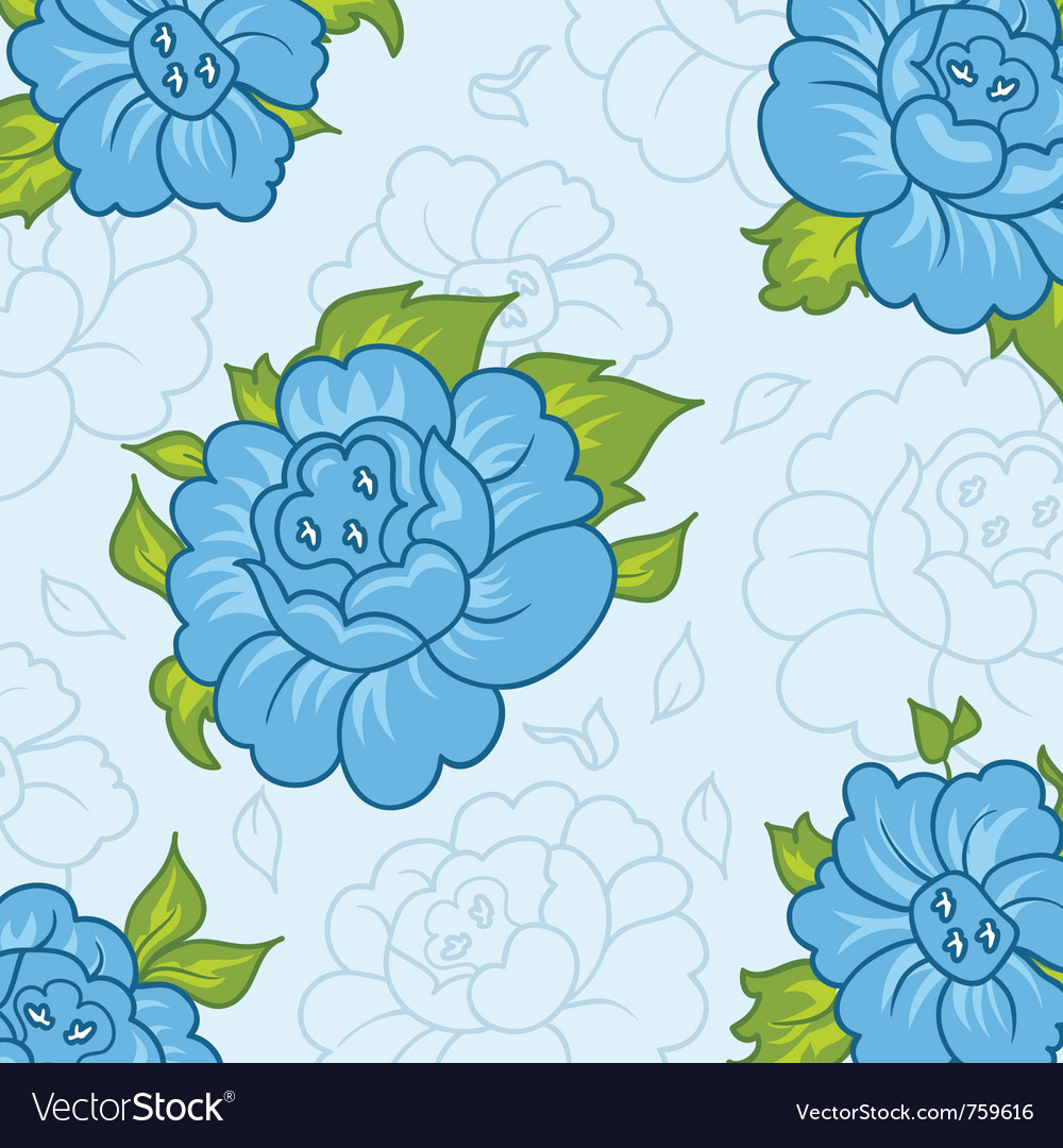 Beautiful pattern with blue flowers - vector | Price: 1 Credit (USD $1)