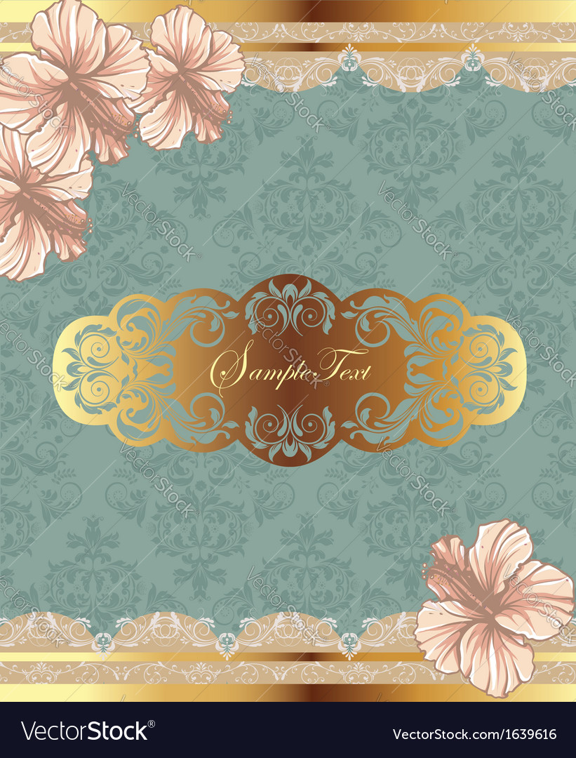 Beautiful vintage floral card vector | Price: 1 Credit (USD $1)
