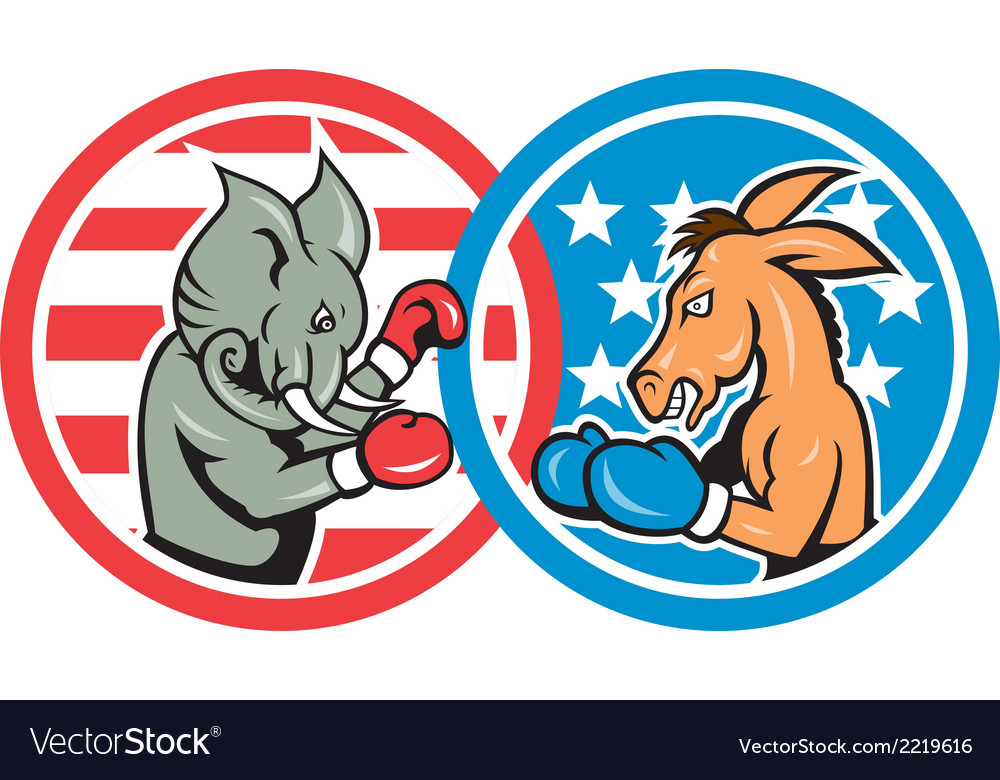 Boxing democrat donkey versus republican elephant vector | Price: 1 Credit (USD $1)