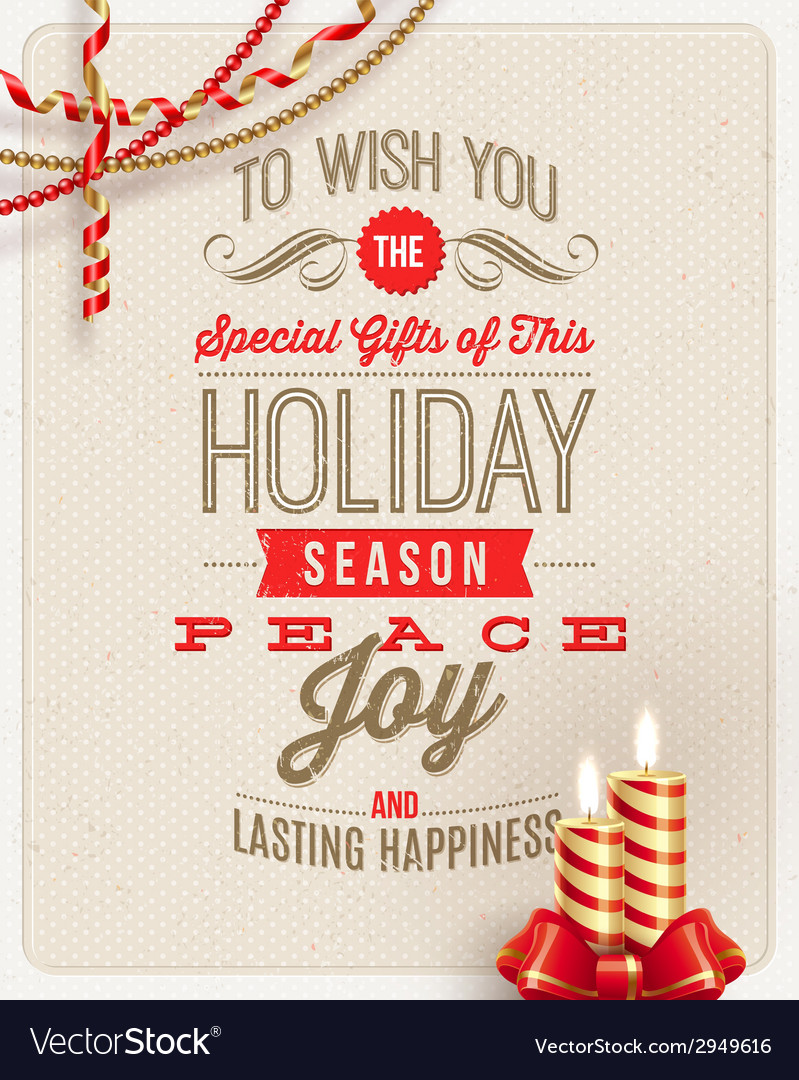 Christmas type design with holidays decoration vector | Price: 3 Credit (USD $3)
