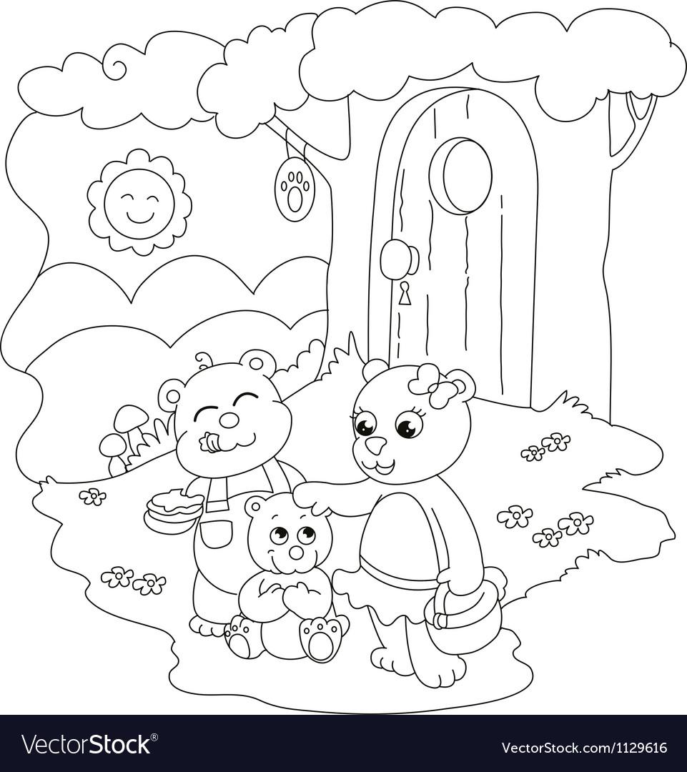 Cute coloring bears vector | Price: 1 Credit (USD $1)