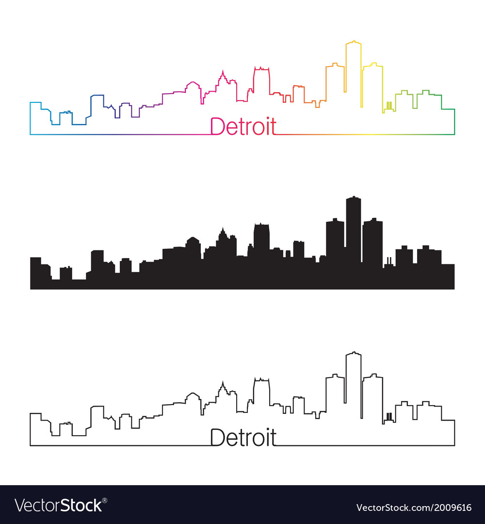 Detroit skyline linear style with rainbow vector | Price: 1 Credit (USD $1)