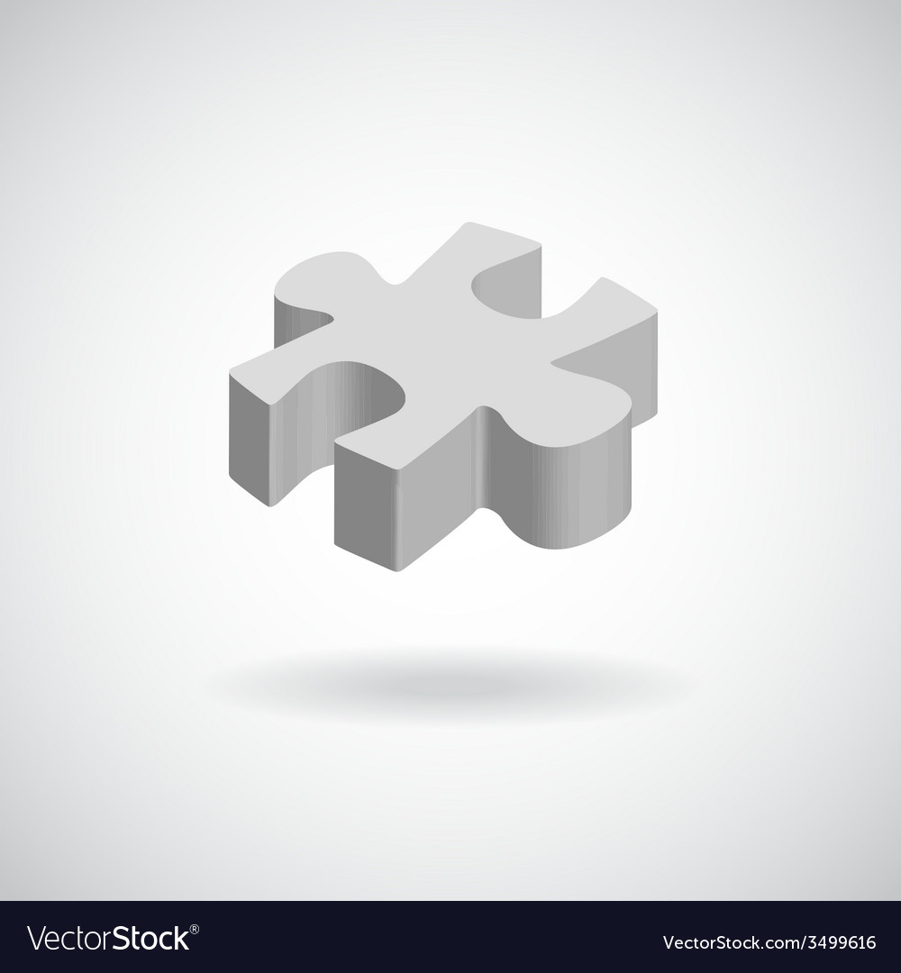 Glossy puzzle web icon design element grey vector | Price: 1 Credit (USD $1)