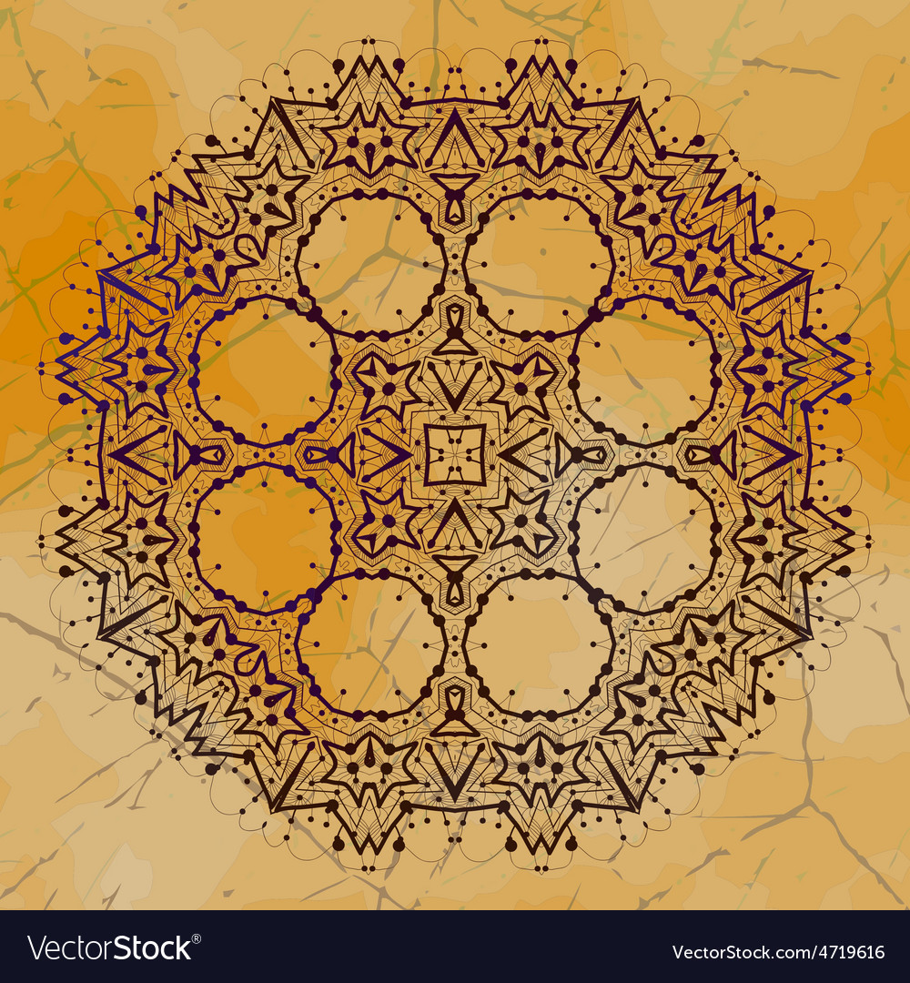 Grungy indian mandala henna colored tribal design vector | Price: 1 Credit (USD $1)