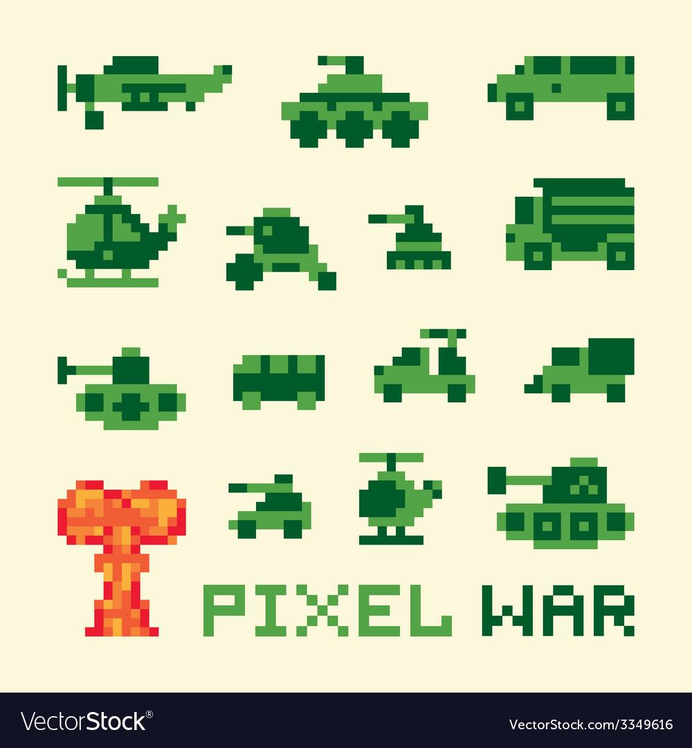 Pixel art war machines set vector | Price: 1 Credit (USD $1)
