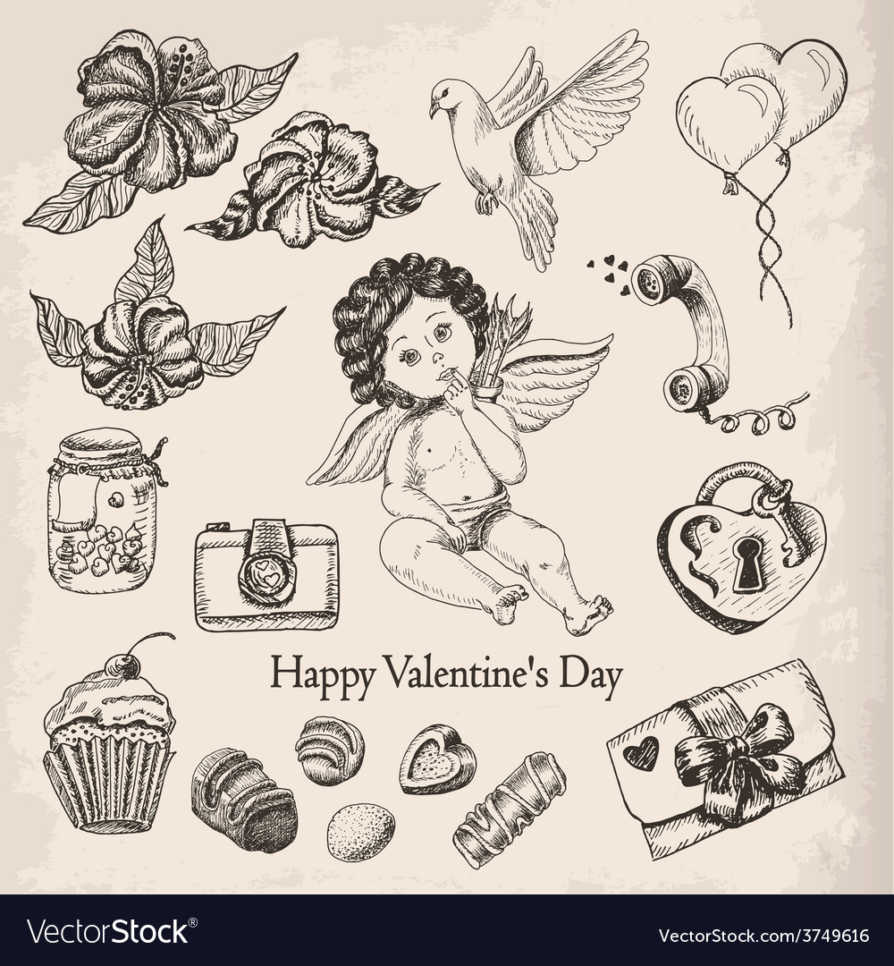 Postcard happy valentines day with the boy angel vector | Price: 1 Credit (USD $1)