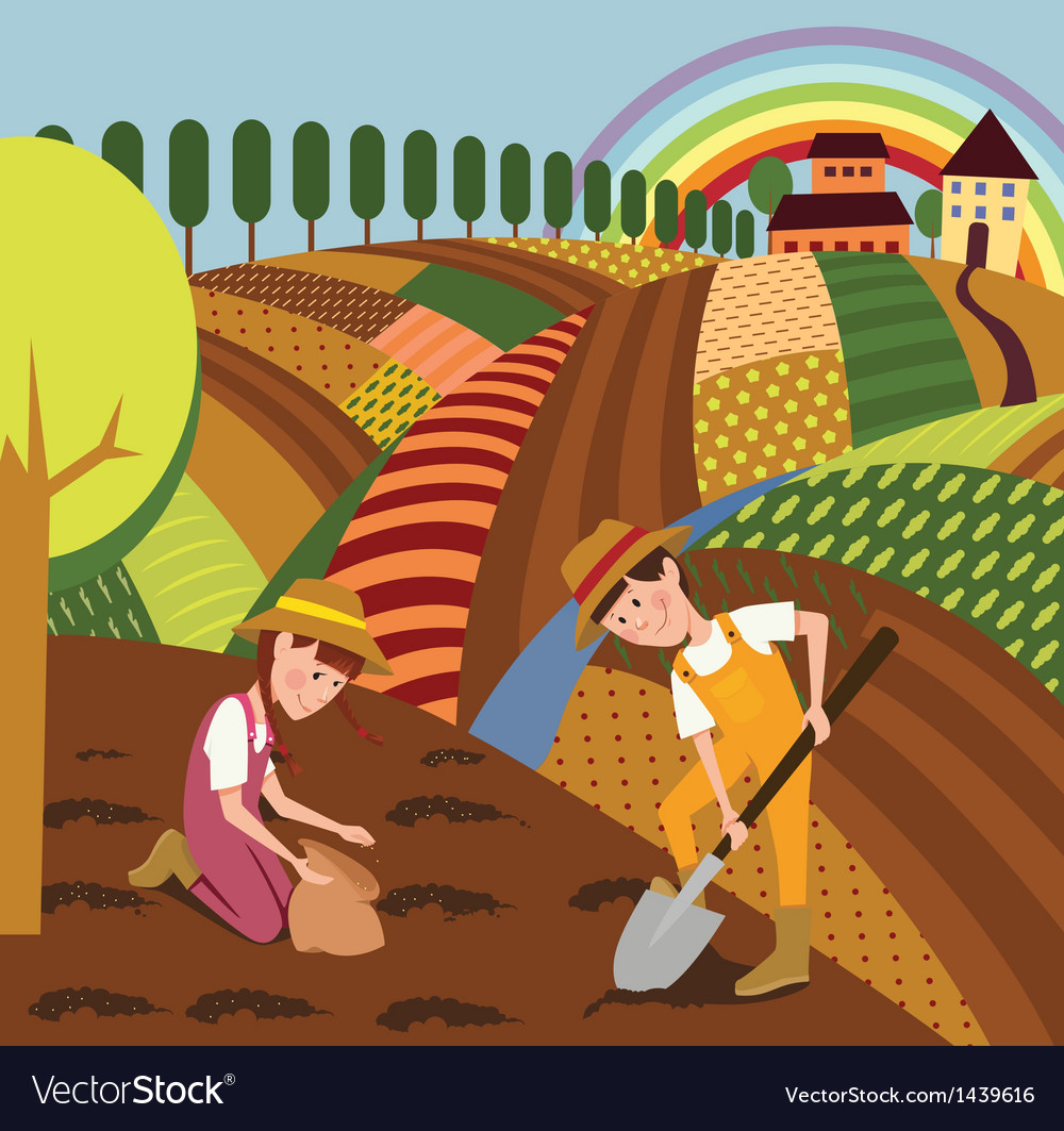 Rural landscape and farmers vector | Price: 3 Credit (USD $3)