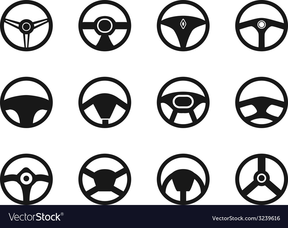 Steering wheel icons set vector | Price: 1 Credit (USD $1)