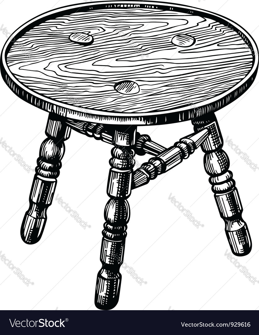 Stool made from natural wood vector | Price: 1 Credit (USD $1)