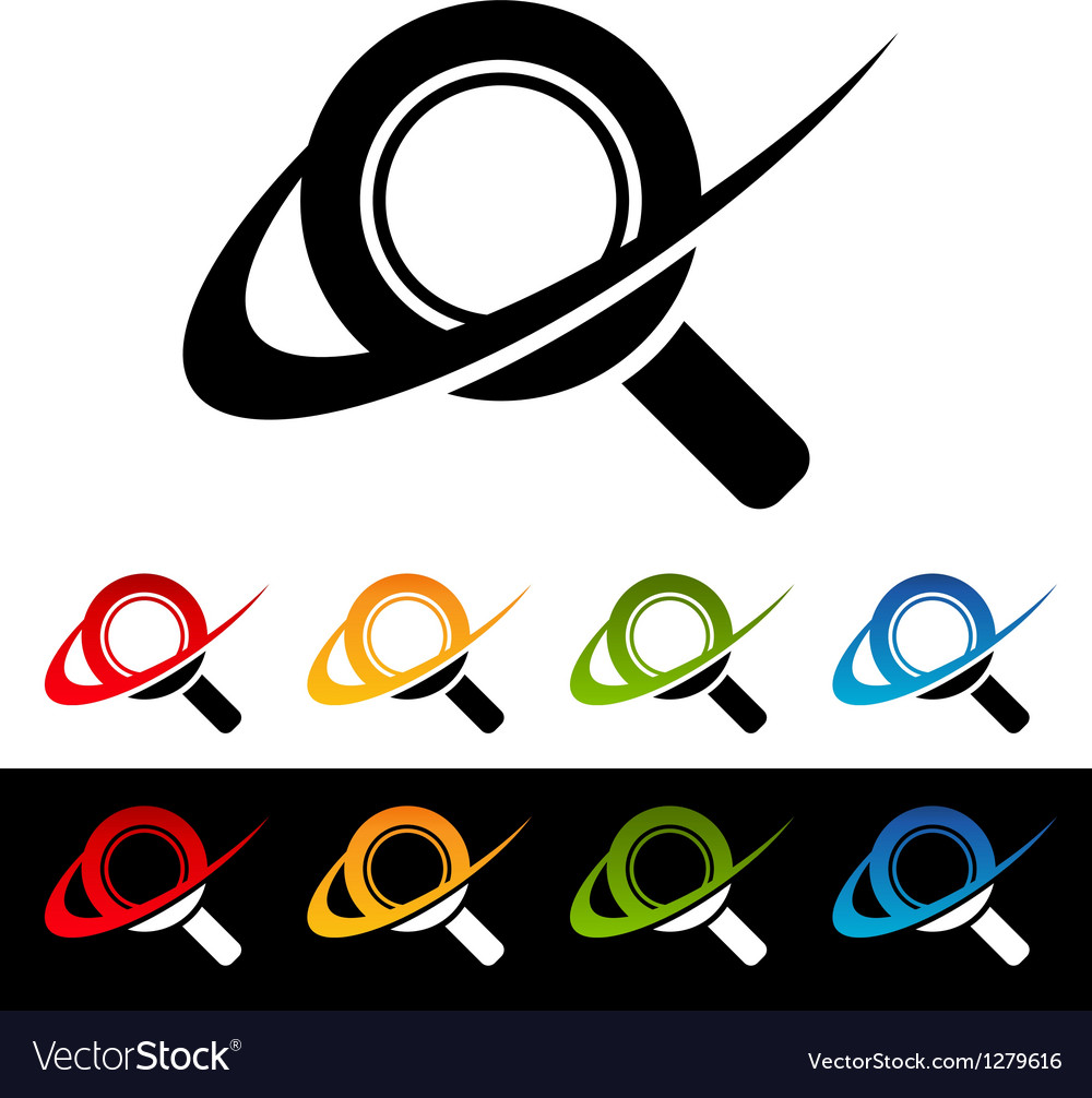 Swoosh magnifying glass icons vector | Price: 1 Credit (USD $1)