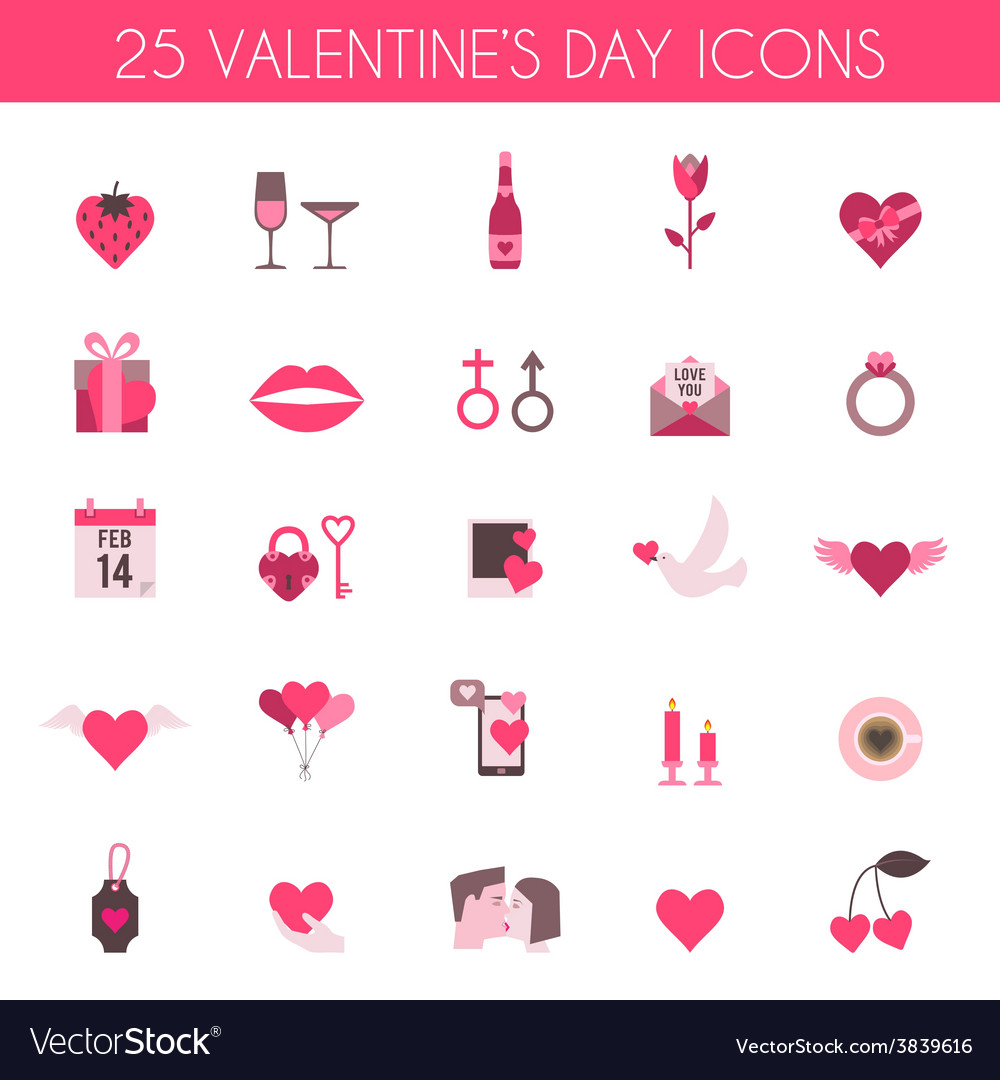 Valentines day and wedding icons vector | Price: 1 Credit (USD $1)