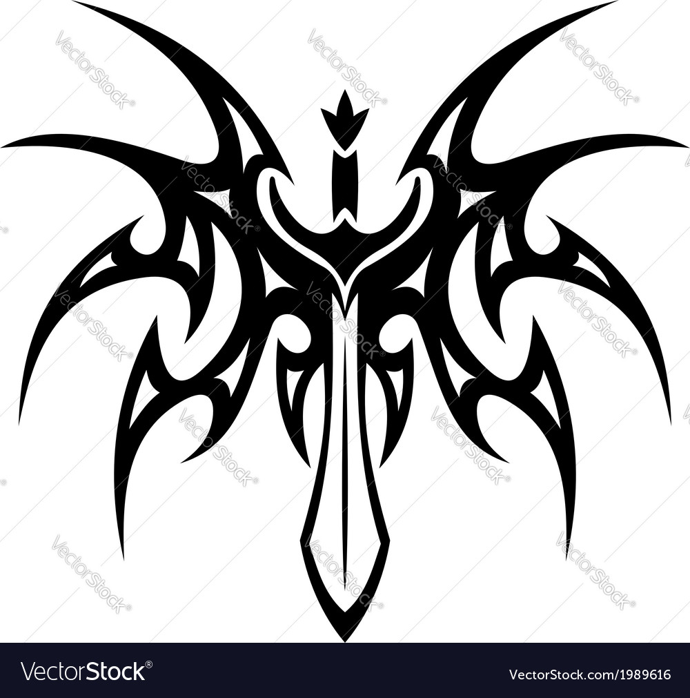 Winged sword tattoo vector | Price: 1 Credit (USD $1)
