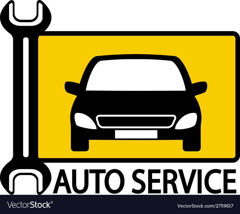 Autoservice sign with car and wrench vector | Price: 1 Credit (USD $1)