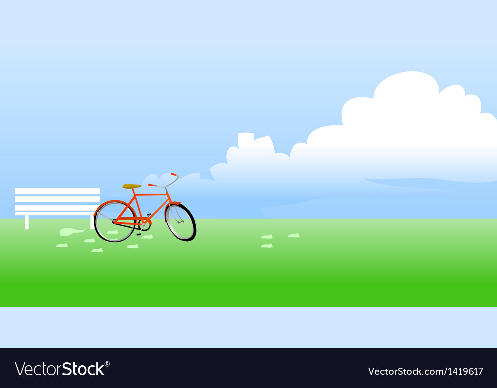 Bicycle propped near the bench vector | Price: 1 Credit (USD $1)
