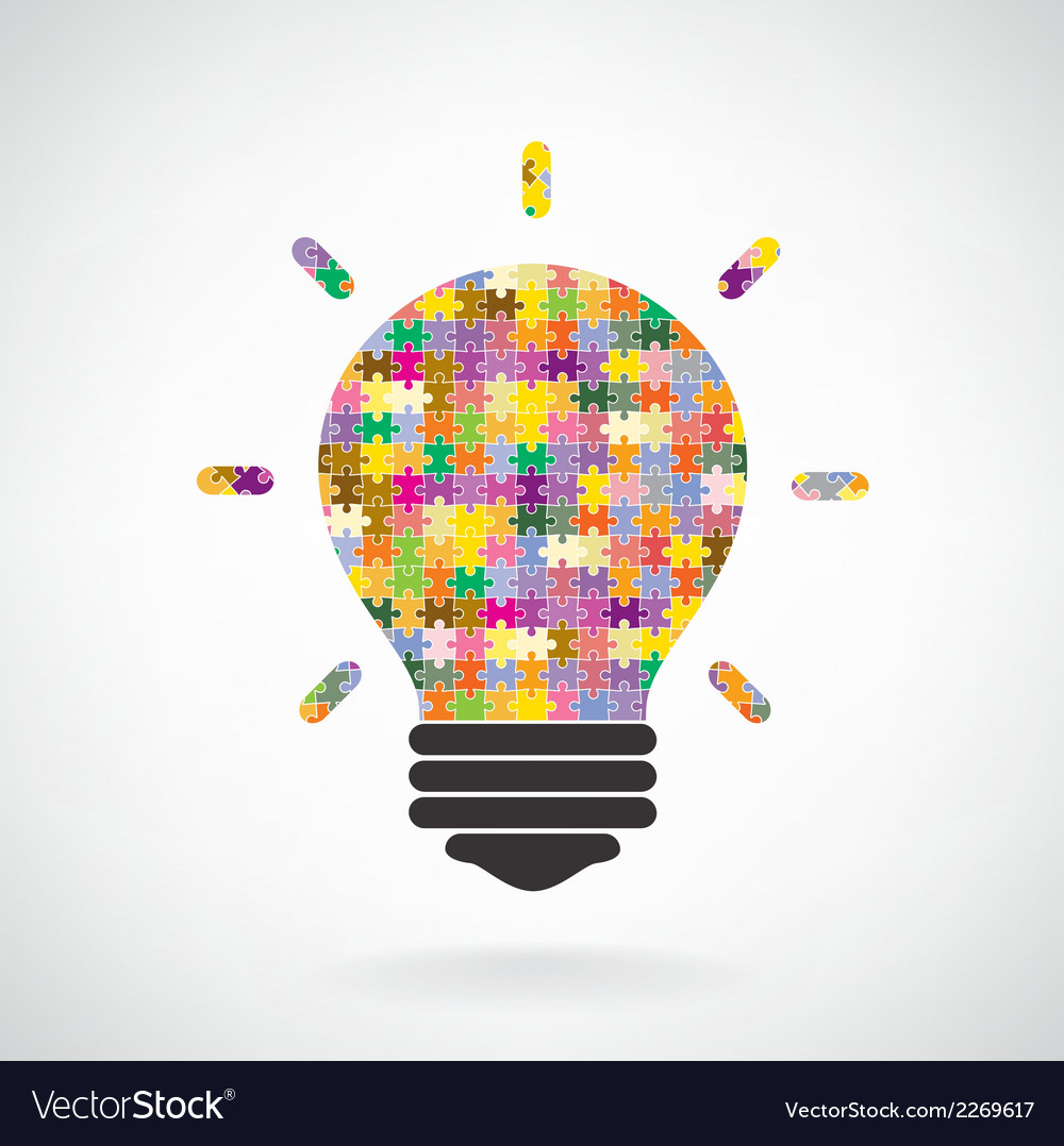 Creative puzzle light bulb idea concept background vector | Price: 1 Credit (USD $1)