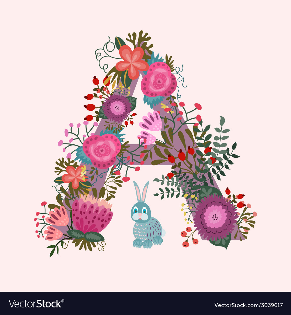 Cute letter a floral monogram a with vintage vector | Price: 1 Credit (USD $1)