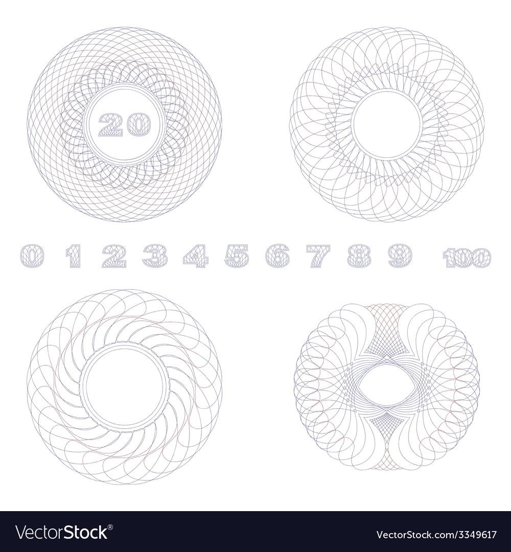 Decorative guilloche rosettes vector | Price: 1 Credit (USD $1)