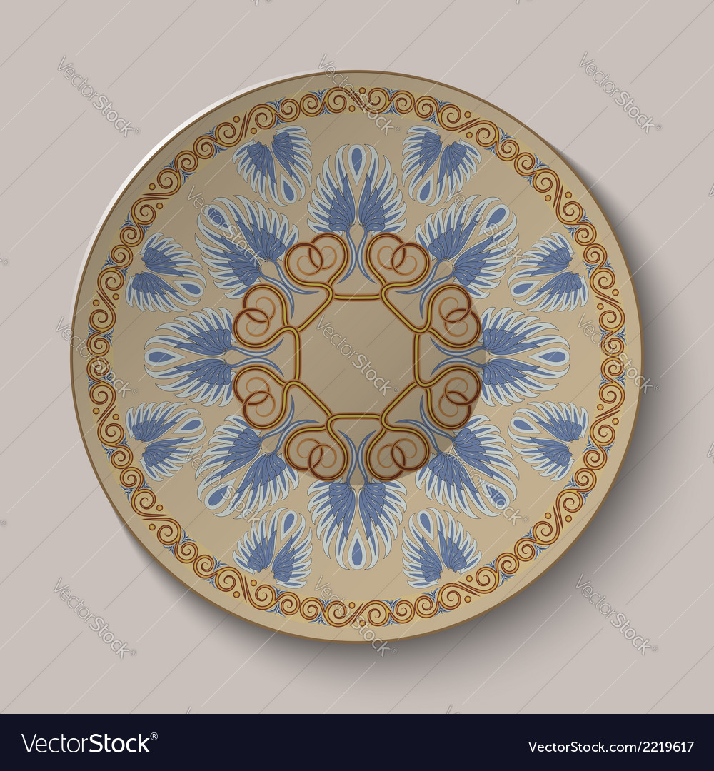 Dish with an ornament in the ancient greek style vector | Price: 1 Credit (USD $1)