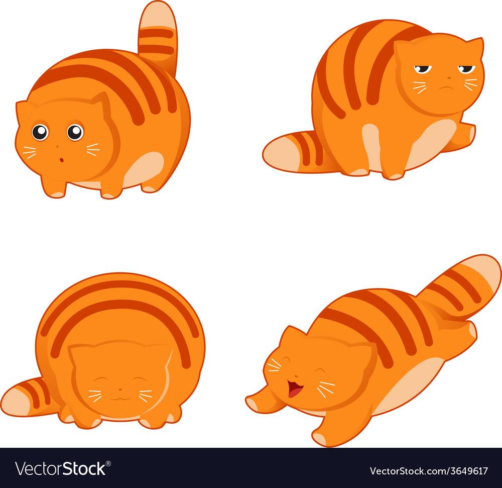 Fat cat icons vector