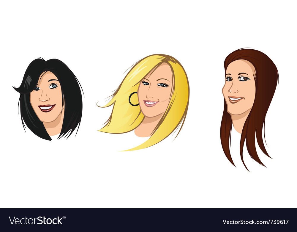 Female heads vector | Price: 3 Credit (USD $3)