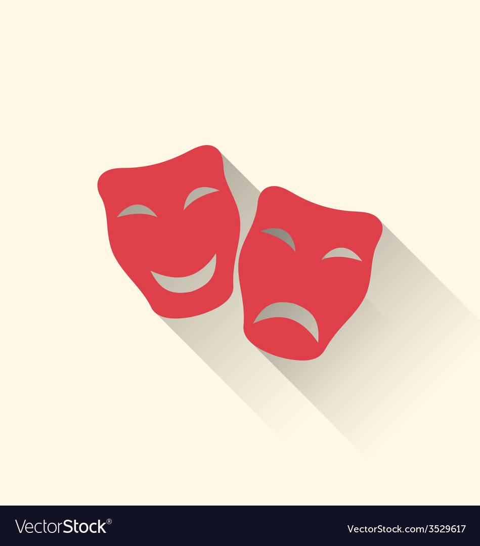 Flat icons of comedy and tragedy masks for vector | Price: 1 Credit (USD $1)