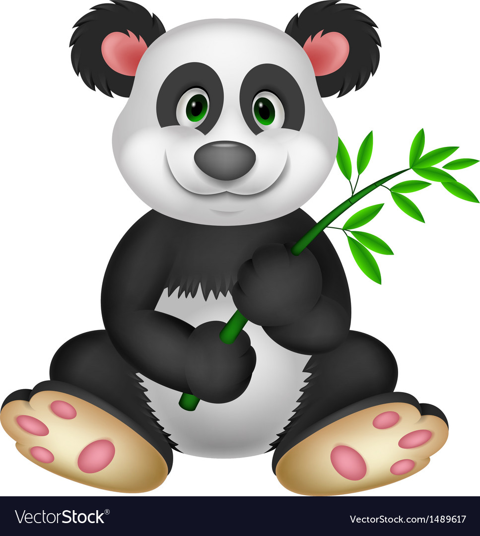 Giant panda cartoon eating bamboo vector | Price: 1 Credit (USD $1)