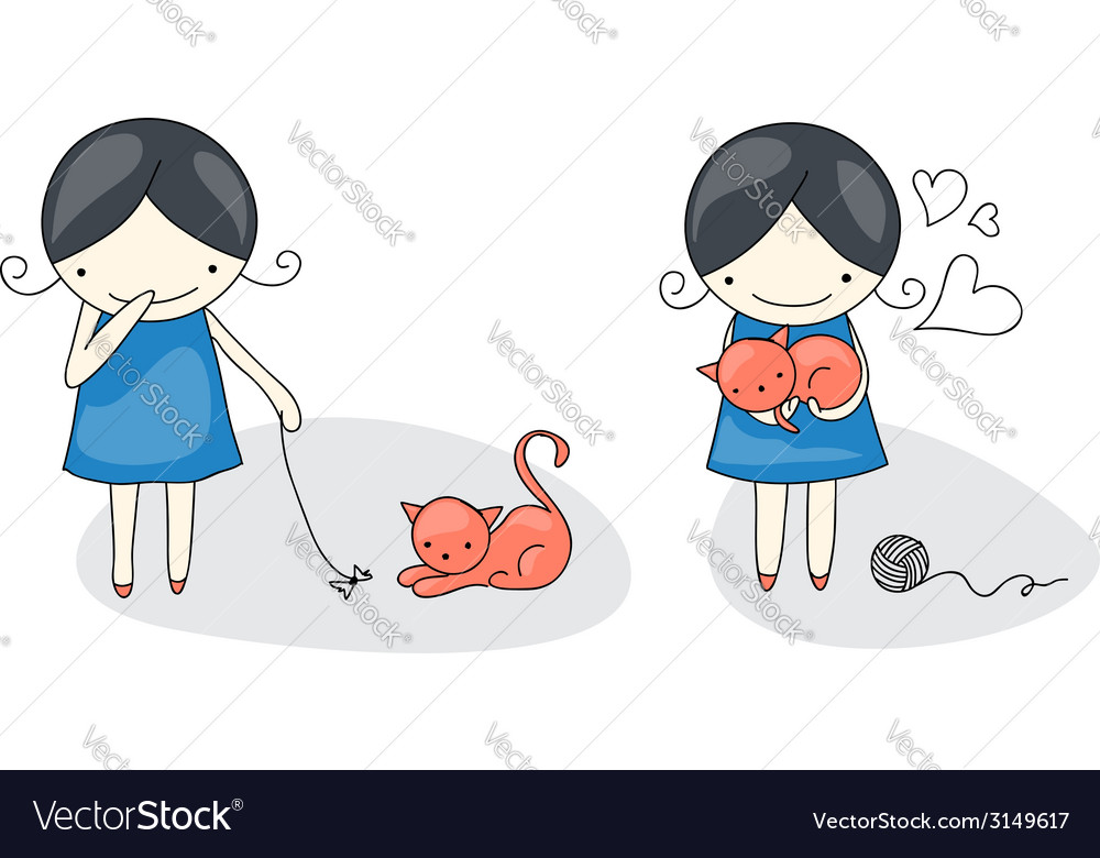 Girl and cat vector | Price: 1 Credit (USD $1)
