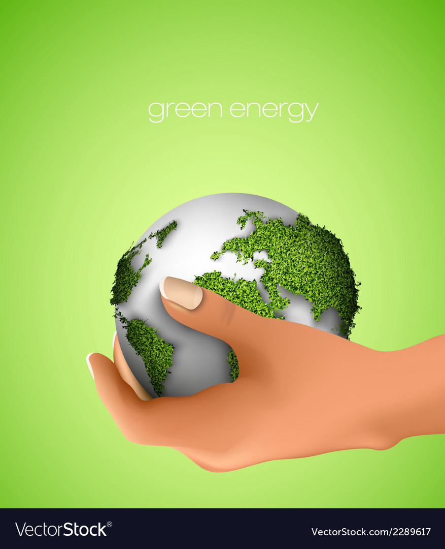 Green planet in hand vector   Price: 1 Credit (USD $1)