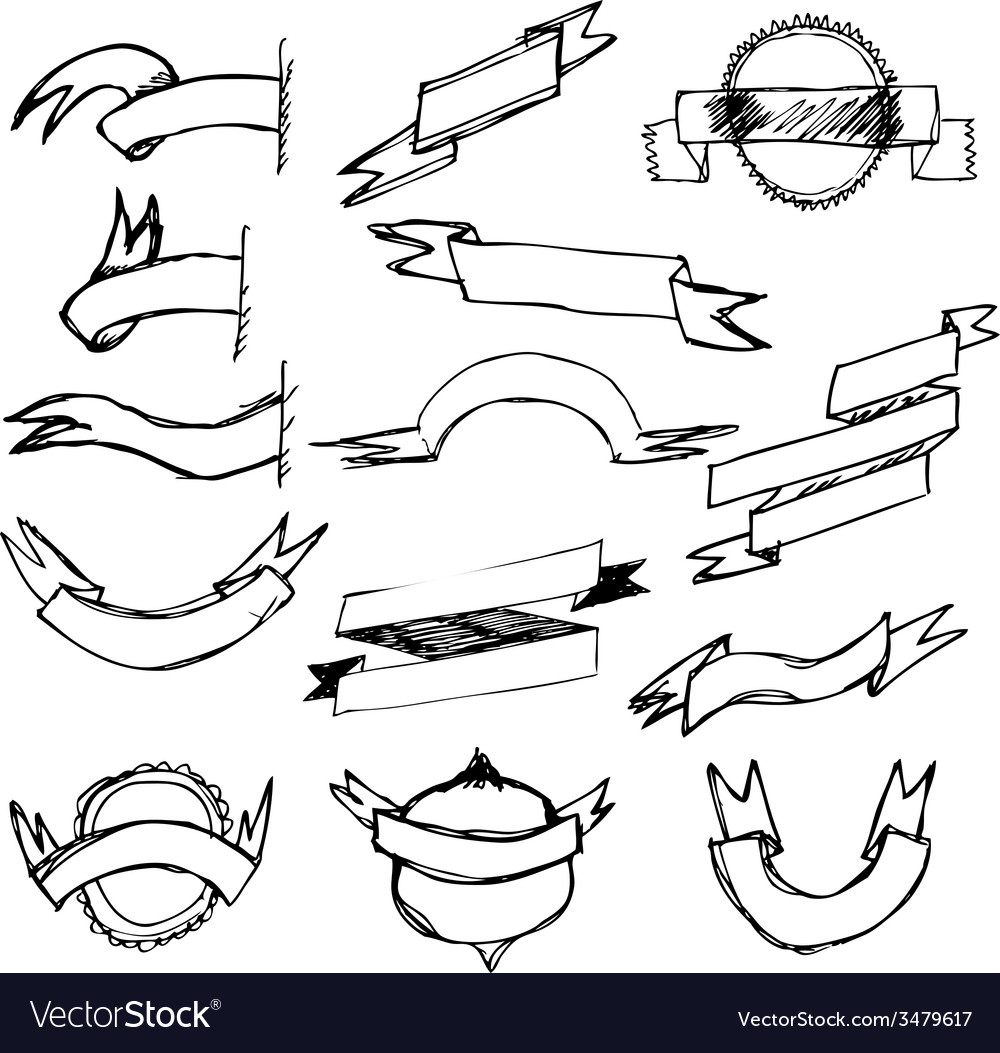 Hand draw ribbon set vector | Price: 1 Credit (USD $1)