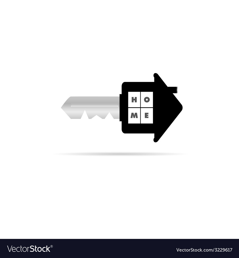 Key with home on it vector | Price: 1 Credit (USD $1)