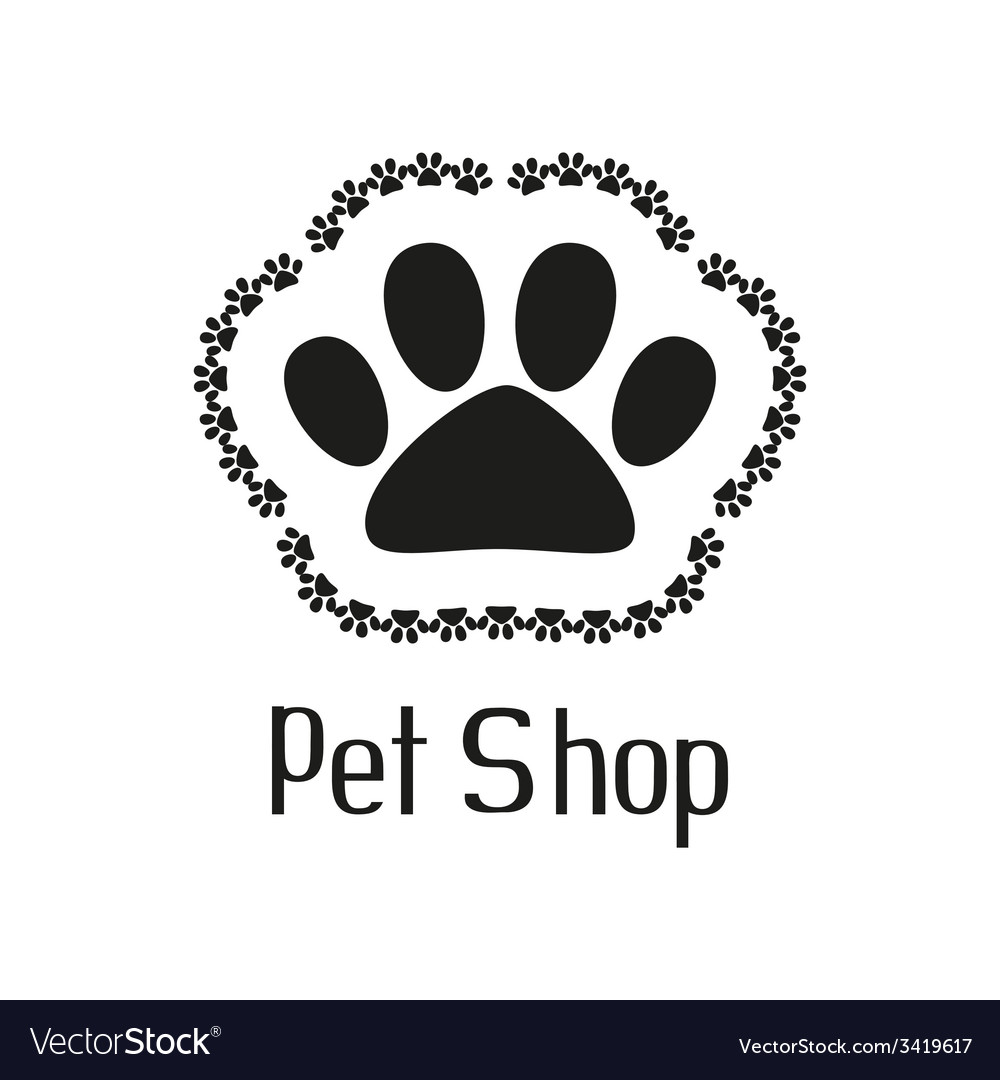 Pet shop logo with pet paw vector | Price: 1 Credit (USD $1)