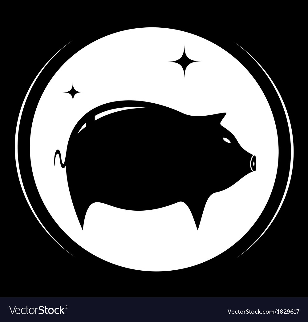 Pig silhouette - meat food symbol vector   Price: 1 Credit (USD $1)