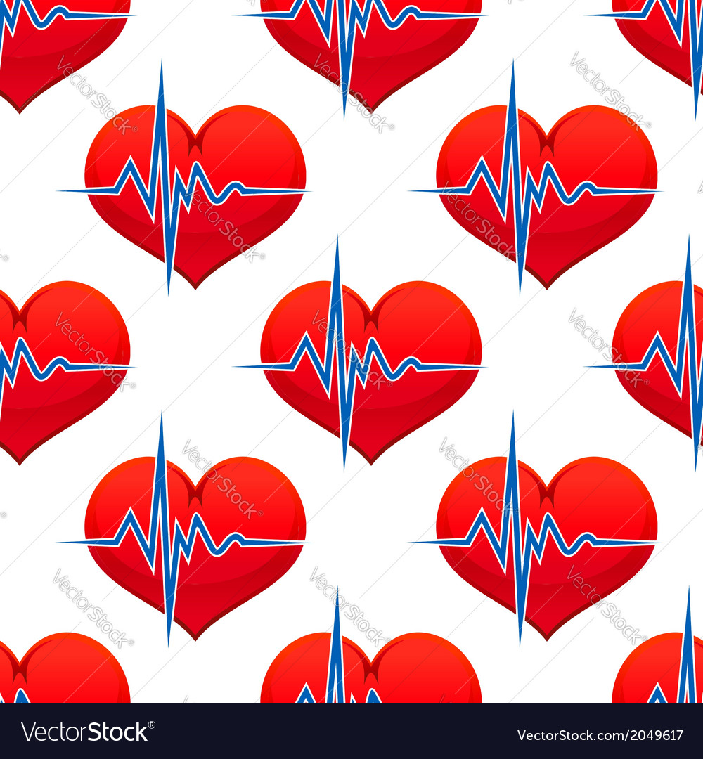 Red heart with a heart beat pulse vector | Price: 1 Credit (USD $1)