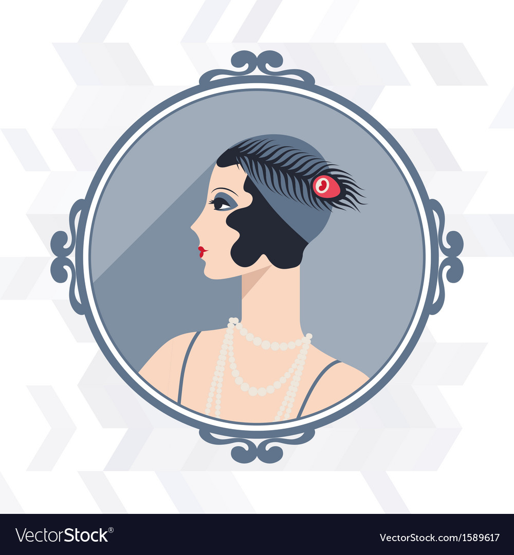 Retro background with beautiful girl of 1920s vector | Price: 1 Credit (USD $1)